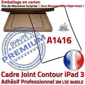 iPad-3-A1416-Cadre-Noir-Joint-Plastique-Contour-Vitre-Tactile-Chassis-Adhesif