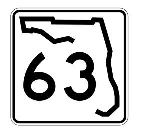 Florida State Road 63 Sticker Decal R1398 Highway Sign