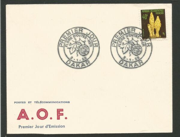 Fdc 1er Jour Flore D'outre Mer 1959 A.o.f. Oblit. Dakar Sénégal /l2092