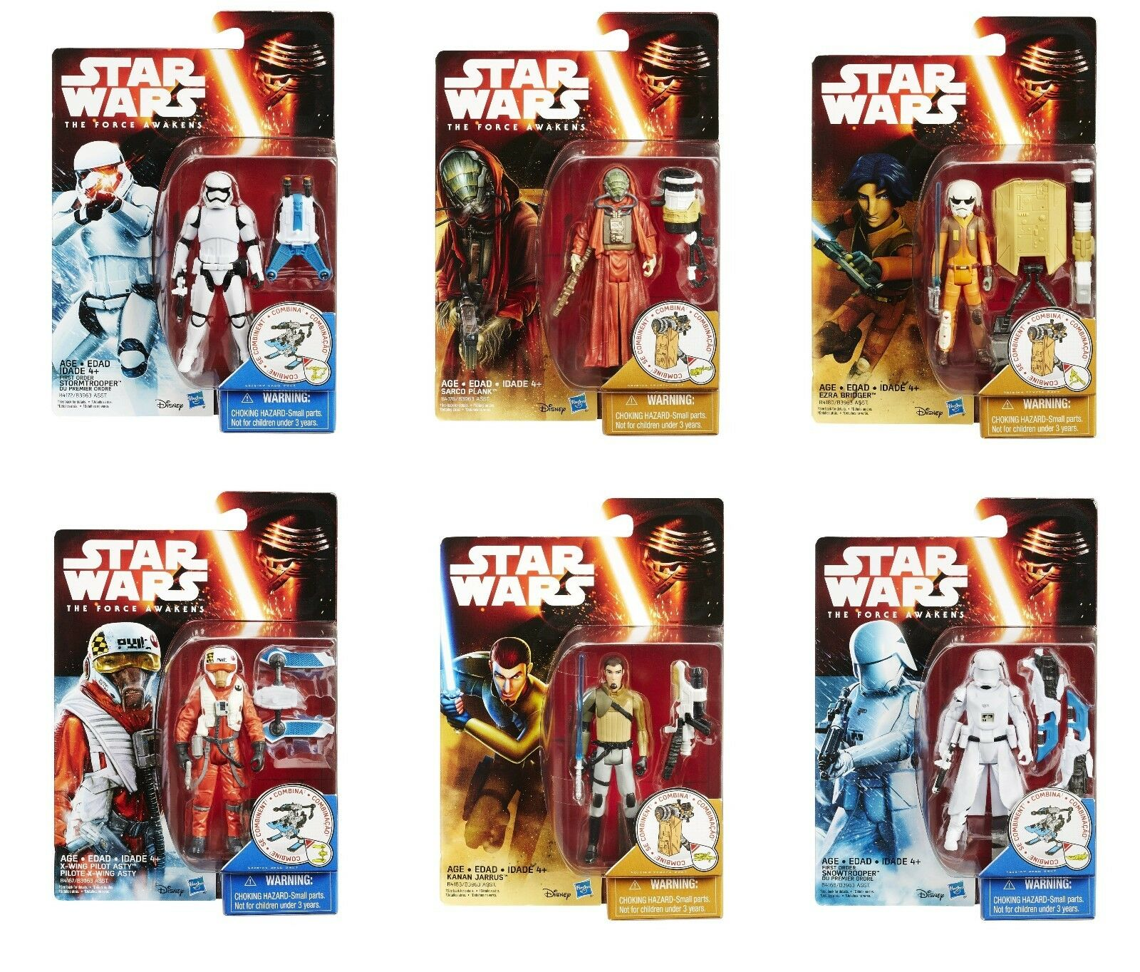 Star Wars The Force Awakens - Complete set of 6 Snow Desert 3.75 inch AF, MINT