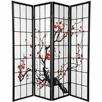 Japanese Cherry Blossom 4 Panel Screen Divider Room Oriental Asian Folding