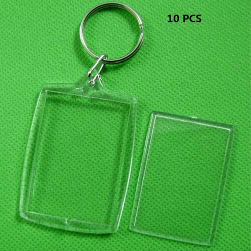 5//10X Precision Clear Empty Insert Photo Picture Frame Key Ring Keychain JB