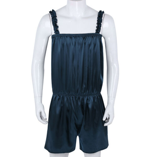 Men Lingerie Nightwear Elastic Sleepwear Shiny Dress Satin Pants Girly Pajamas