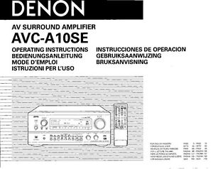 Denon avca10se service manual immediate download.