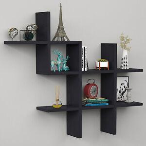 Wall Shelf Unit Floating Shelves Metal /& Wood Storage Display Rack Multi-style
