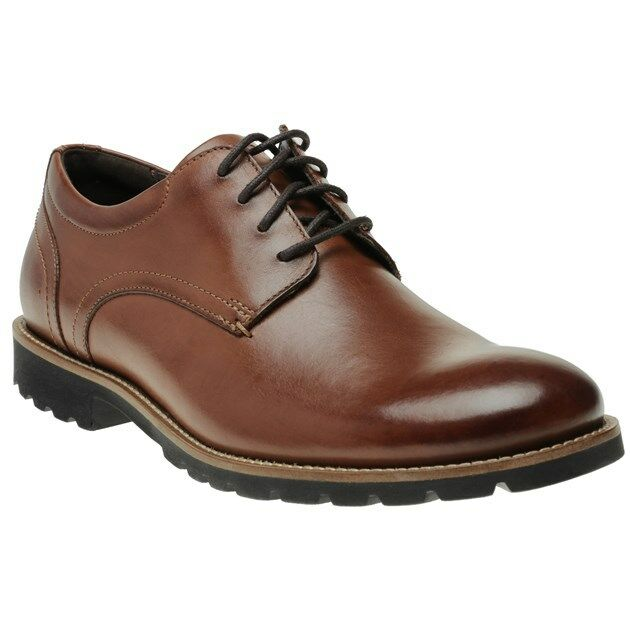 New Mens Rockport Brown Modern Break Plaintoe Ox Leather shoes Flats Lace Up
