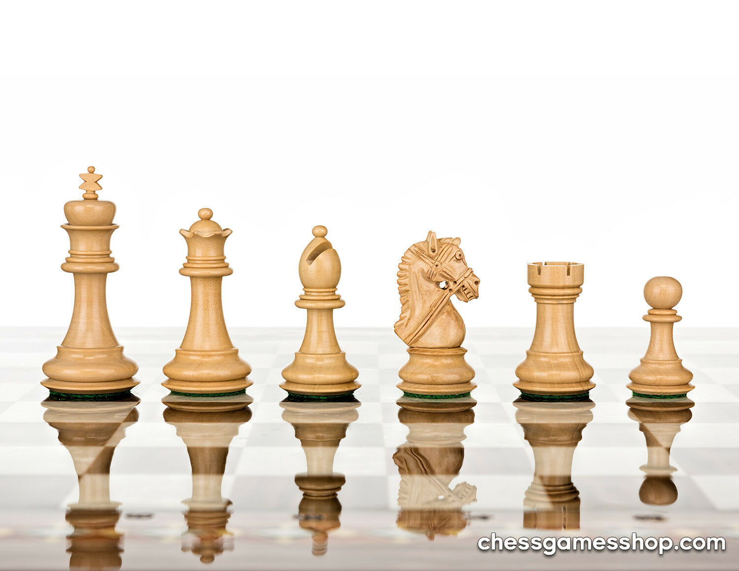 Luxury handmade wooden chessmen - chess pieces - weighted, felted - extra queens