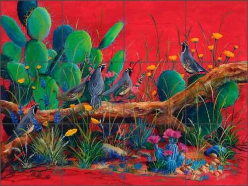 Ceramic Tile Mural Backsplash Libby Southwest Quail Cactus Art SLA033