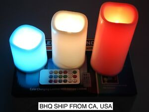 Flameless LED Candles Set 3 PC Luminara Flickering Moving Wick with Remote Timer