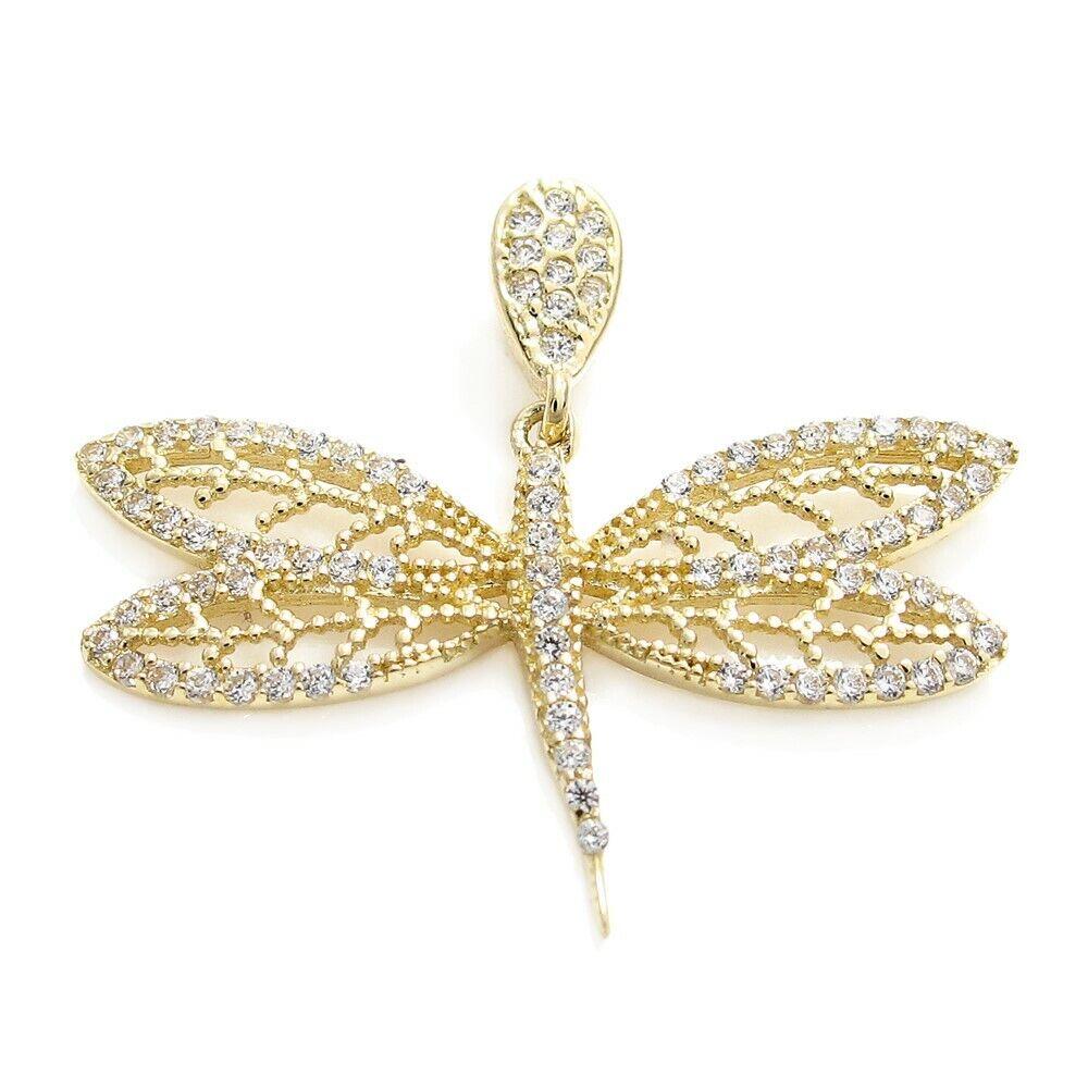 10K gold Brilliant 0.84 Carat CZ Dragonfly Pendant