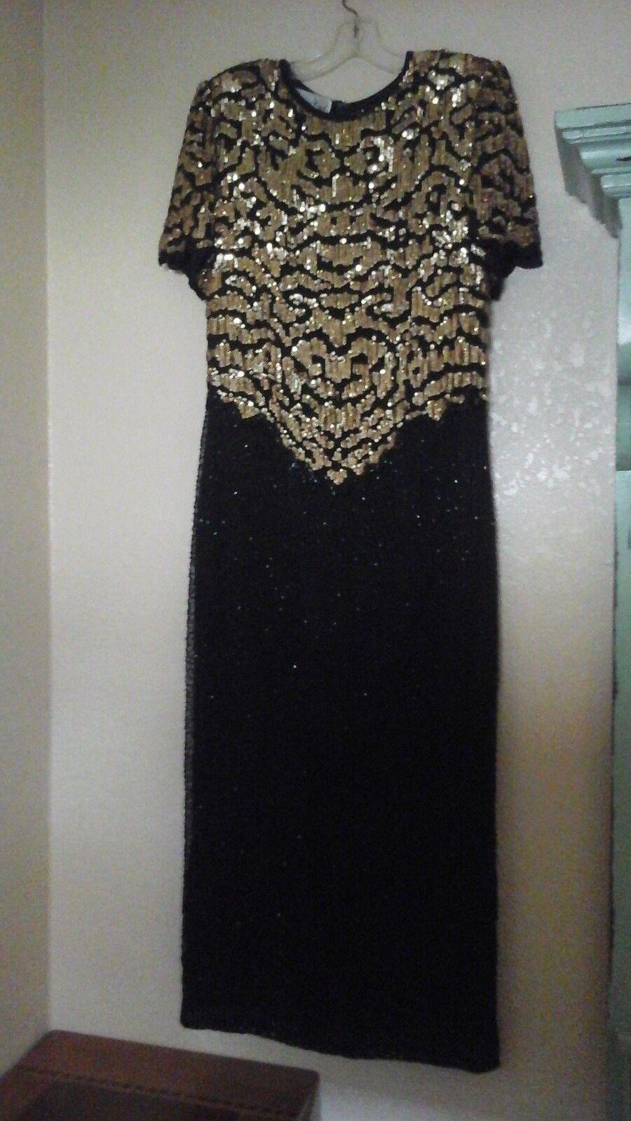 Vtg Laurence Kazar Sz PXL schwarz Silk Beaded Sequin Evening Dress Formal Gown