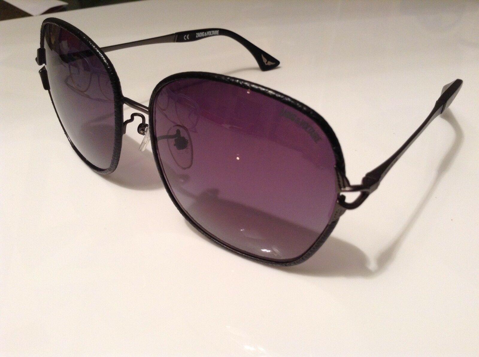 BNWTT 100% auth Zadig Voltaire RARE Black Leather sunglasses with logo RRP
