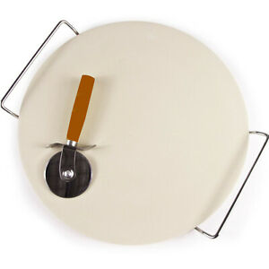 EXTRA-LARGE-CERAMIC-PIZZA-BAKING-STONE-SET-CHROME-STAND-33CM-FREE-PIZZA-CUTTER