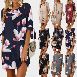 Fashion-Women-Floral-Long-Top-Blouse-Ladies-Summer-Beach-Shirt-Dresses-Plus-Size