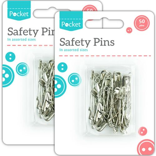 100Pc SAFETY PINS Assorted Sizes Silver Pear Shaped Arts Craft Running Cycling