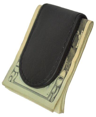 Black Calfskin Leather Men/'s Strong Magnetic Money Clip Bill Fold Front Pocket