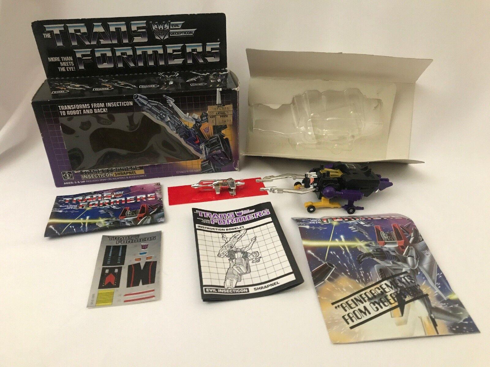 Transformers G1 Insecticon metralla 100% Todo Original Y Completo Calcomanías sin usar