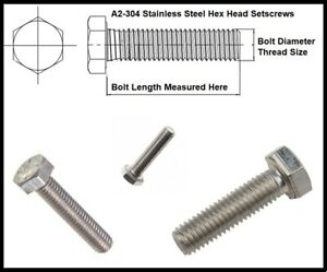 M6 Fully Threaded Hex Bolts A2 Stainless Steel Hexagon Head Set Screws