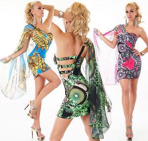 Sexy-One-Spalla-Mini-Abito-Pavone-Leo-Design-Vestito-Estate-Party-Spiaggia-34-38