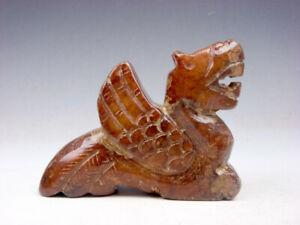 Antiguo-Nefrita-Jade-Piedra-Tallado-Escultura-Monster-Dragon-Con-Alas