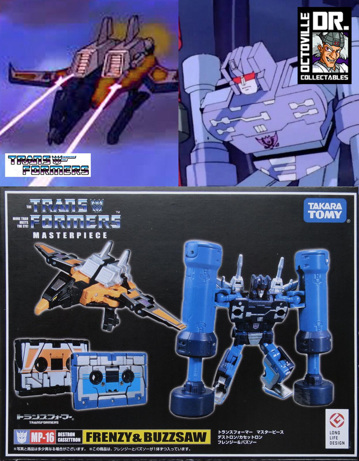Transformers TAKARA AUTENTICO CAPOLAVORO MP-16 frenesia & BUZZSAW Nuovo di Zecca