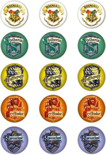 """50mm circles. Harry Potter; Hogwarts Crests; T5 Theme Cupcake Topper; 15 x 2/"""""""