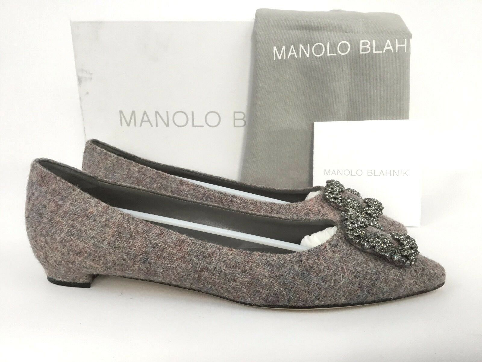 consegna gratuita Manolo Blahnik Blahnik Blahnik Hangisi Jeweled grigio Tweed Pointy Toe Flat 42 12  offerta speciale