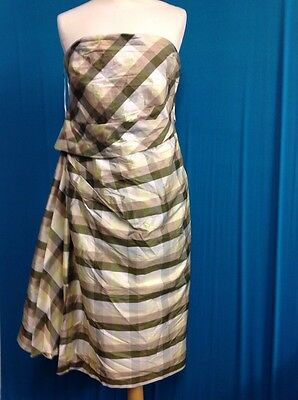 A Kalico Silk Shell Dress UK Size 14 Green Check with Sash Gorgeous
