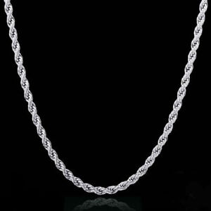 STERLING-SILVER-PLATED-2-MM-ROPE-CHAIN-NECKLACE-16-18-20-22-24-INCH-Silver