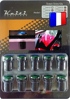Kit Keiti® 10 Boulons M5*15 Alu Verts Anodisés Universel Pour Bulle Pare-brise