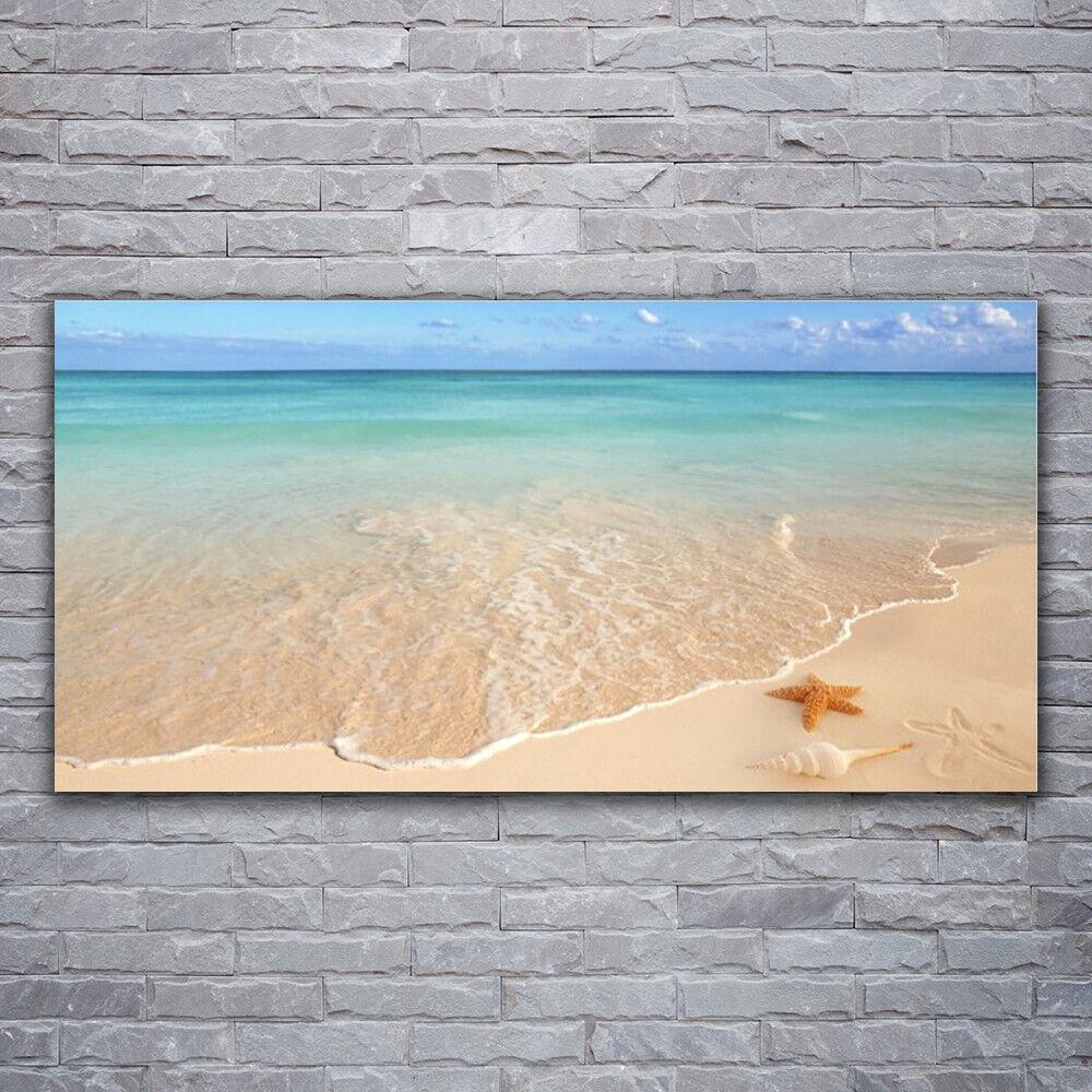 Verre Imprimer Wall Art Image 120x60 Photo Mer Plage étoile de mer paysage