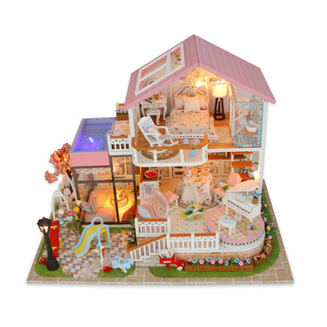cheap wooden dollhouse furniture. DIY Wooden Miniatures Pink Villa Dollhouse Furniture LED Kit Child Toy Xmas Gift Cheap