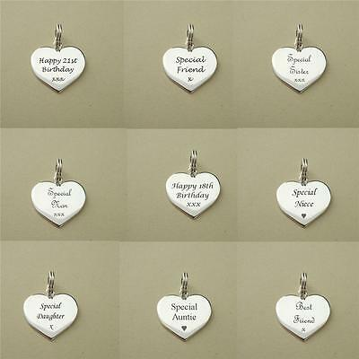 Engraved Sterling Silver Heart Charm on Split Ring Your Personalised Engraving!