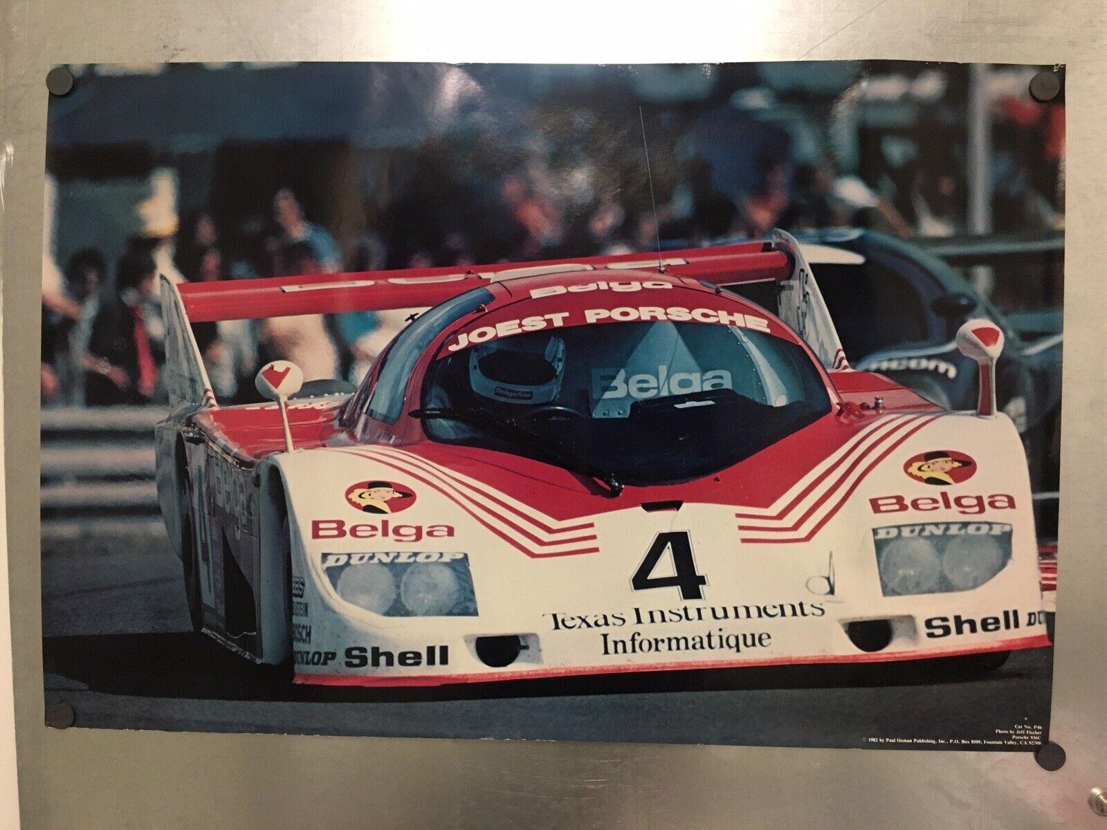 Vintage Porsche 936 C Racing Affiche  1982; Joest Porsche, Belga, Shell, etc.