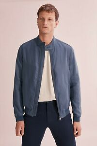 Country Road Cotton Linen Bomber - Steel Blue