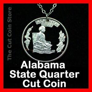 Alabama-State-Necklace-Pendant-Cut-Coin-Jewelry-25-AL-Quarter