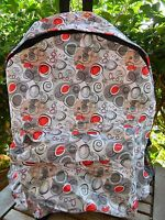 Full Size Campus Backpack School Book Bag Gray Red Heart Travel Tote Pouch