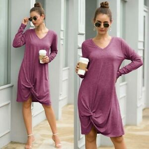 Long-Sleeve-Womens-Dresses-Dress-Solid-Long-Ladies-Loose-Casual-V-Neck-Maxi