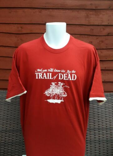 Trail of dead T.shirt In Red  with cream trim  Size XL