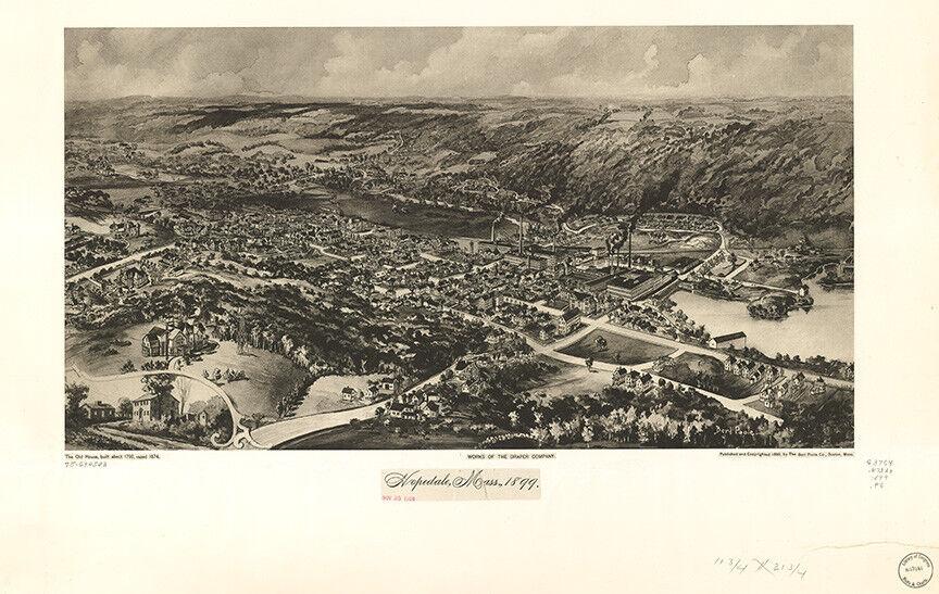 Vintage Map of Hopedale, Massachusetts.1899  with framing option