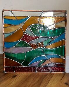 Ebay Stained Glass Panels.Details About Abstract Stained Glass Panel Contemporary Window Handmade Ooak