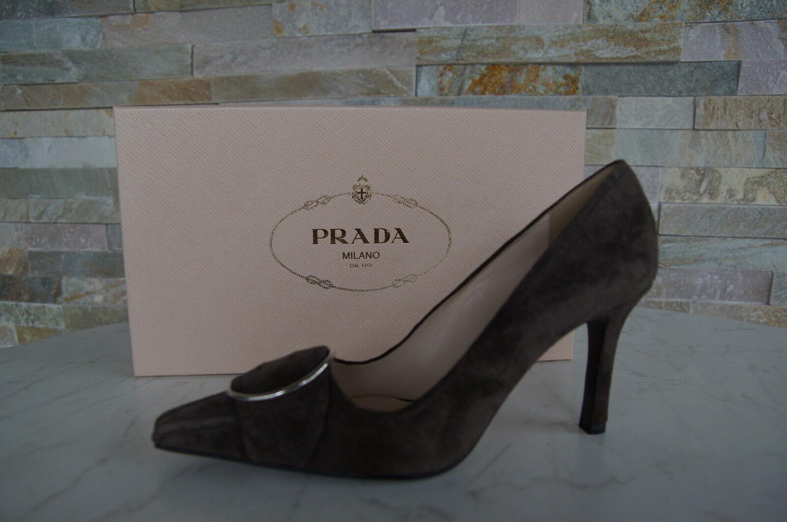 Luxus Prada Pumps Gr 36 Schuhe 1I487E schuhe 1I487E Schuhe graubraun Grau Braun NEU b29945