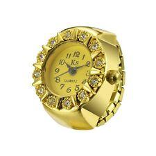 Fashion Women Gold Flower Style Alloy Analog Quartz Finger Ring Watch high -