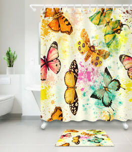 Image Is Loading Watercolor Butterfly Shower Curtain Hook Bathroom Mat Polyester