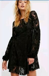 NWT Free People Women/'s Ruby Black Lace Mini Dress