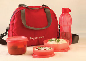 Tupperware Tiffin Lunch Box Best Trendy Classic Executive RED SLING A BLING