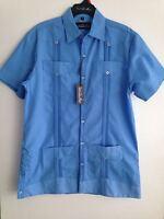 Guayabera Style Men's Short Sleeve Shirt Button Front By Carlo De Marco
