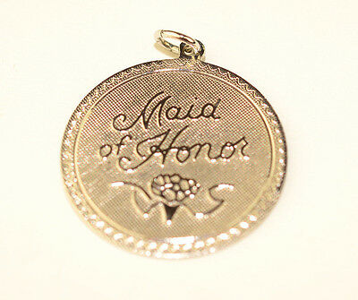 "VINTAGE BUT NEVER USED STERLING SILVER 7/8"" ROUND MAID OF HONOR WEDDING CHARM"