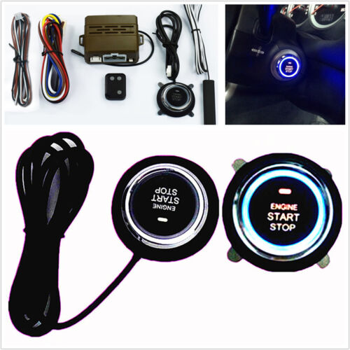 1X Car Mini Alarm System One Button Start Push Induction Remote D Control Engine