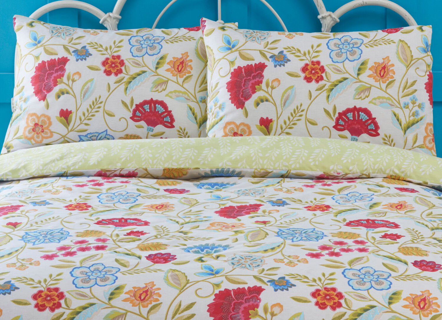 Bedding Irvine Cream Bedding Set Floral Leaves Print Fuchsia Lime Green Orange Blue Rev Home Furniture Diy Tohoku Morinagamilk Co Jp